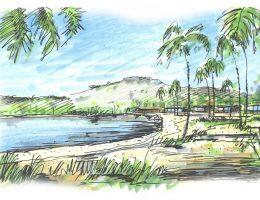 Morando na praia com vista para a lagoa